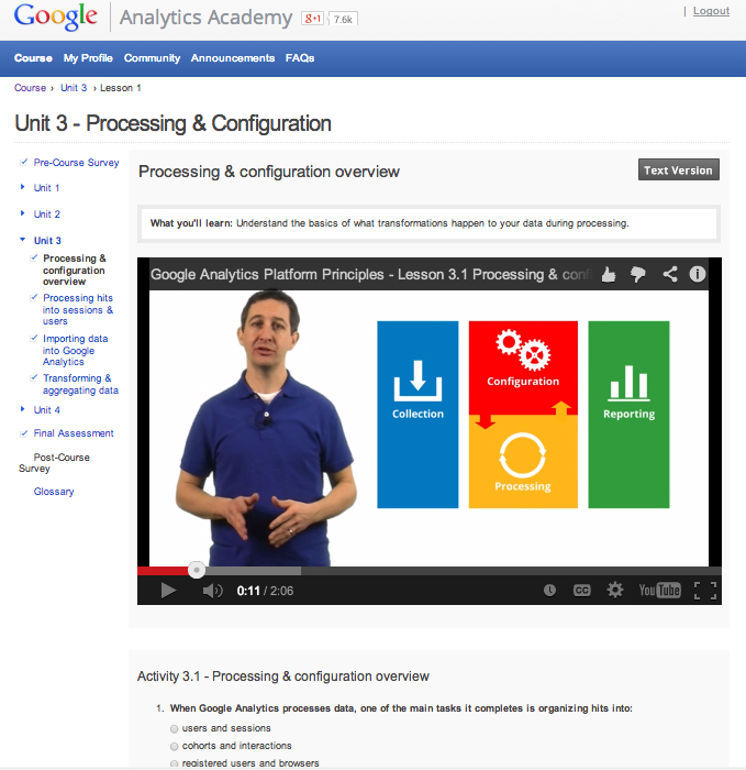 Analytics Academy Platform Principles course screenshot