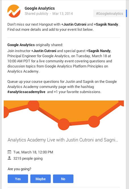 Analytics Academy Google Plus activity